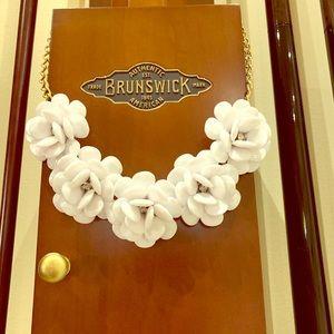 White Enamel Flower w/ Diamond Center Necklace